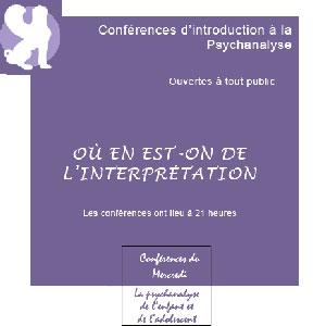 Conférences du mercredi - Psychanalyse de l'enfant et de l'adolescent