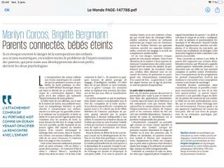 Tribune du Monde du 4 Janvier 2020 – Parents connectés, bébés éteints